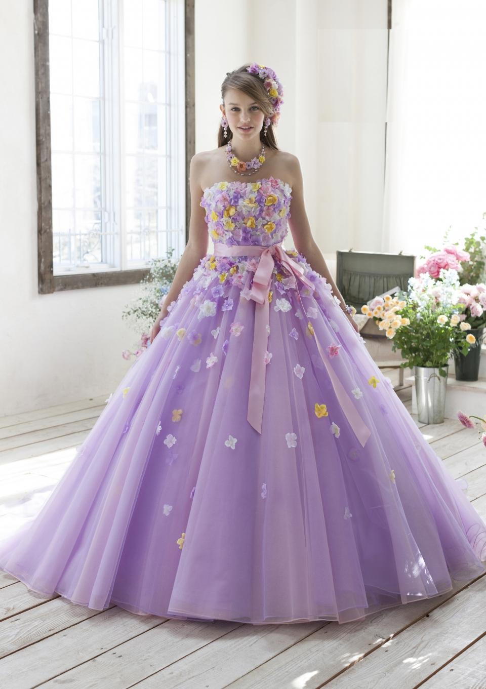 ラベンダ-人気カラ-ドレス