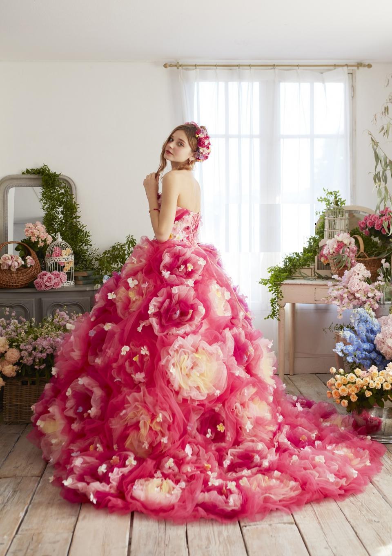 人気チェリーピンクカラードレス